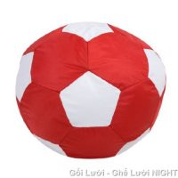 Ghế lười hình trái banh QB003 đỏ – trắng (Chất liệu Kate Phi) Size S